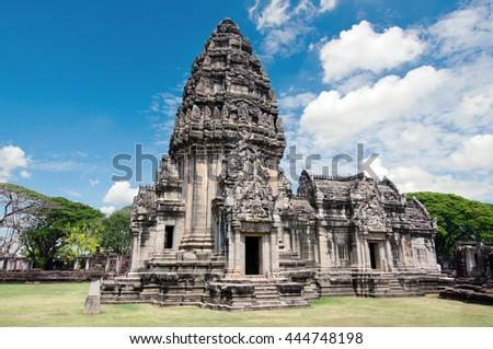 Old buddha pagoda temple with cloudy sky in Ayuthaya Pagoda area in Ayuthaya province Thailand - stock photo