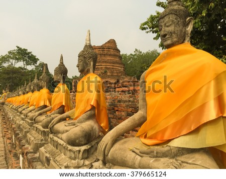 Old buddha statue in buddha temple at Ayuthaya Thailand,Ancient temples of Thailand. - stock photo