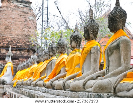 old Buddha statue in temple at Ayutthaya, Thailand - stock photo