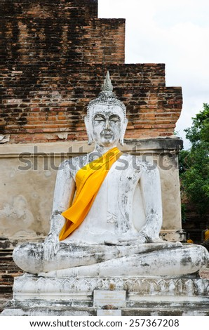 old  Buddha statue in temple at Ayutthaya, Thailand. World Heritage Site - stock photo
