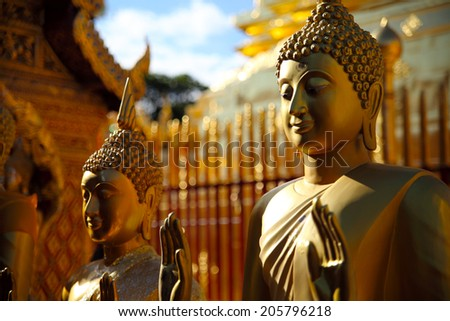 old Buddha statue in temple at Chiang Mai, Thailand - stock photo