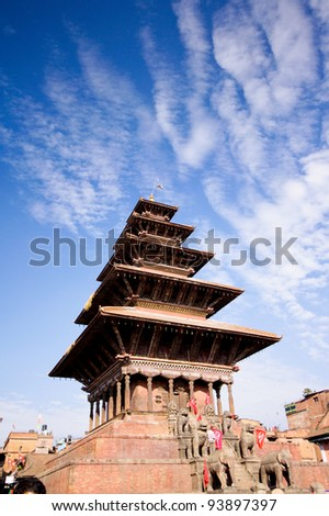Old buddhistic pagoda, Nyatapola temple on Bhaktapur Square. Kathmandu, Nepal - stock photo