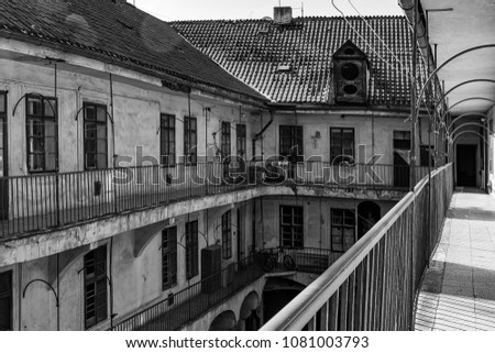 old build in Prague black and white