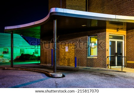 Old building at night in Hanover, Pennsylvania. - stock photo