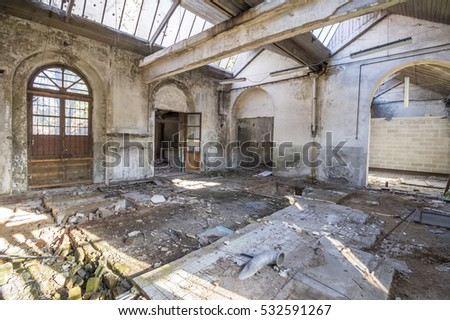 old building destroyed, interior abandoned factory
