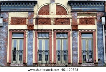 Old building exterior background - stock photo