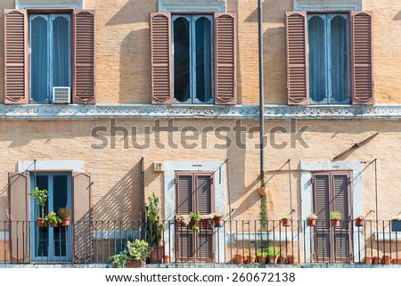 Old building facade on famous Piazza Navona in Rome - stock photo