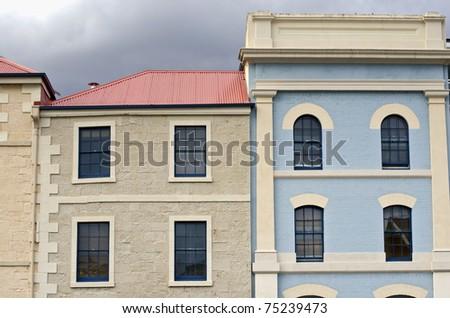 Old building facades, Hobart, Tasmania - stock photo