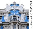 old building in jugendstyle (Art Nouveau) in Riga, Latvia. Isolated - stock photo