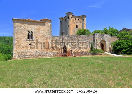 Old building of a cathar castle in the village of Arques, Aude, Languedoc-Roussillon, France
