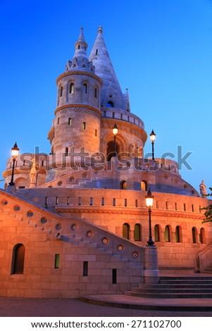 Old building of the Fisherman's Bastion at nightfall, Budapest, Hungary - stock photo