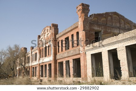 old building over sky background - stock photo
