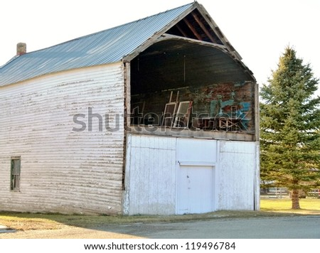 old building with missing wall - stock photo