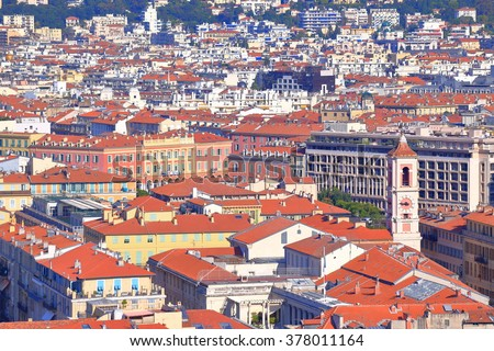 Old buildings and churches of Nice seen from above, French Riviera, France - stock photo