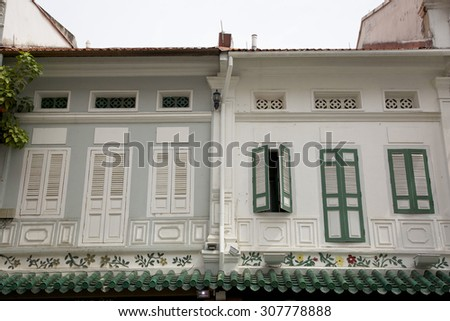 Old buildings in Singapore - travel and tourism image. - stock photo