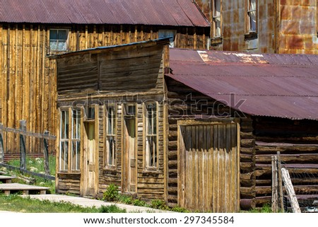 Old buildings in St. Elmo Ghost Town in Chaffee County in the Colorado Rockies - stock photo