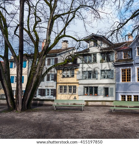 Old buildings in the city center of Zurich, Switzerland - famous touristic attraction - Lindenhof Viewpoint and Park in Spring