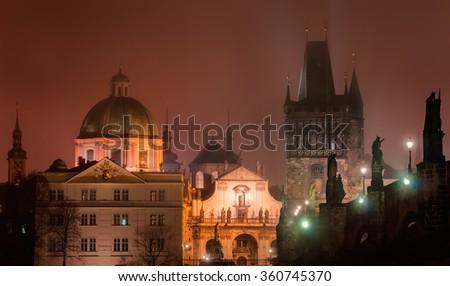 Old buildings near Charles bridge, Old town, Prague, Czech republic - stock photo