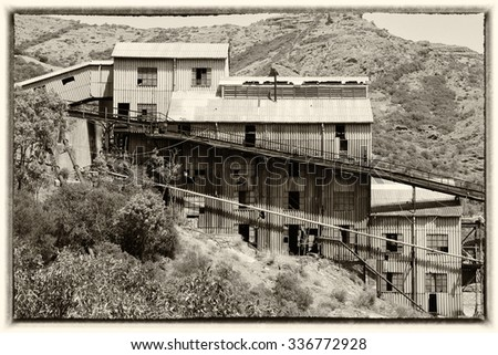 Old buildings of an abandoned mine in Sardinia, Guspini, Montevecchio
