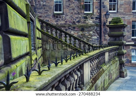 Old buildings of historical part of Edinburgh, Scotland - stock photo