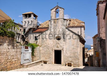 old buildings on korcula island (croatia) - stock photo
