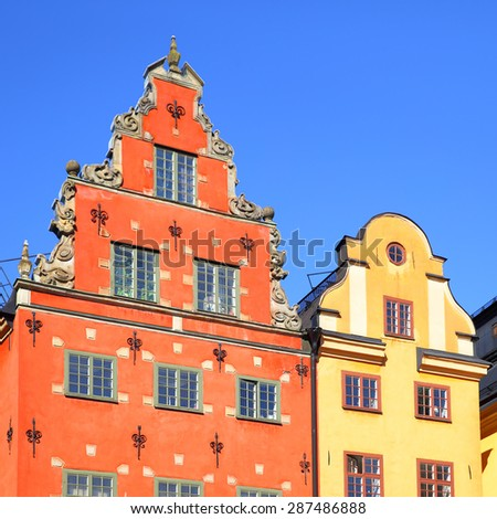 Old buildings on Stortorget square, Stockholm - stock photo
