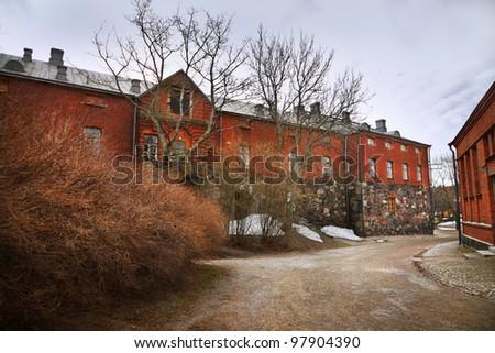 Old buildings on Suomenlinna island - stock photo