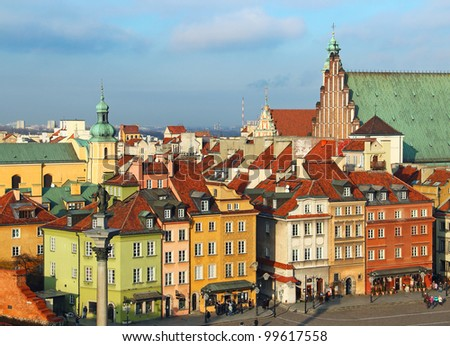 Old buildings on the Castle square (plac Zamkowy) in Warsaw old town, Poland - stock photo
