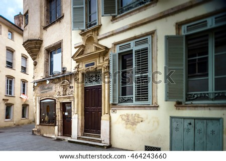 Old buildings on the street of Nancy, France, medieval city