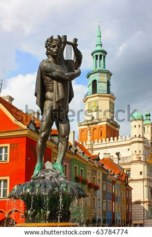 Old buildings, statue of Apollo in Poznan - stock photo