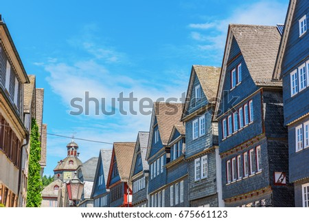 old buildings with slate facades in Herborn, Germany