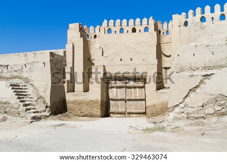 Old Bukhara city walls, Uzbekistan. Central Asia. Located on the Silk Road, the city has long been a center of trade, scholarship, culture, and religion.