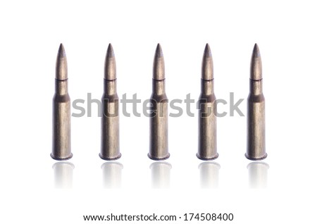 Old bullets isolated on white - stock photo