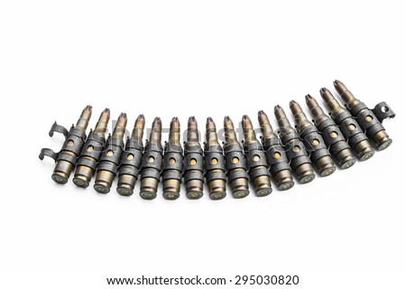 Old bullets on white background - stock photo