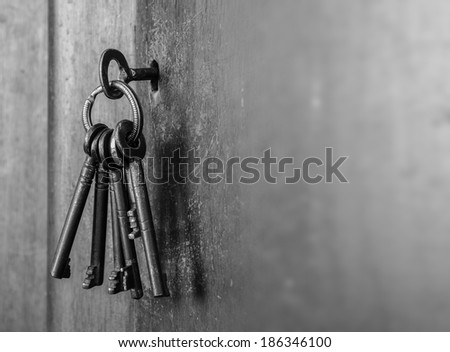 Old bunch of keys with copy space - stock photo