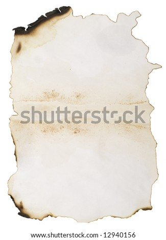 old burnt paper isolated on white