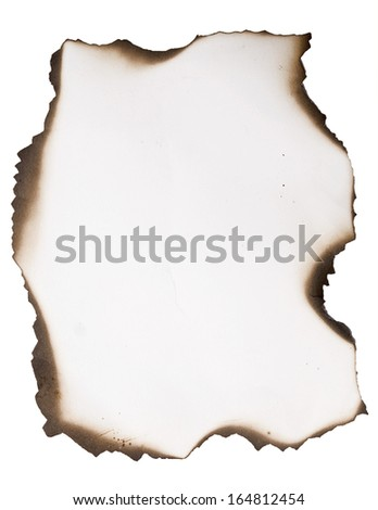 old burnt paper on a white - stock photo