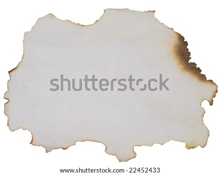 old burnt paper over white background