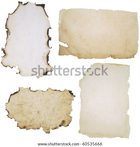 old burnt paper over white background - stock photo