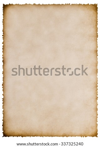 Old burnt paper sheet isolated on white for your text - stock photo