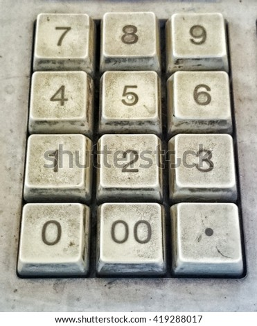 old button on calcutor, Close up
