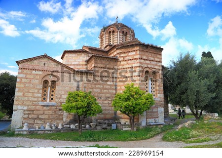 Old Byzantine church located in the Ancient Agora, Athens, Greece