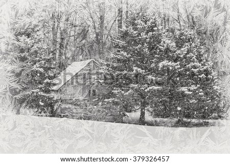 old cabin in pine trees viewed through a frosty window