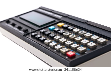 Old calculator on white background. Old calculator - stock photo