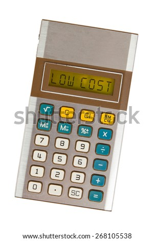 Old calculator showing a text on display - low cost - stock photo