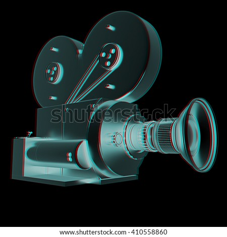 Old camera. 3d render. 3D illustration. Anaglyph. View with red/cyan glasses to see in 3D. - stock photo