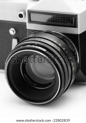 Old camera isolated over white background