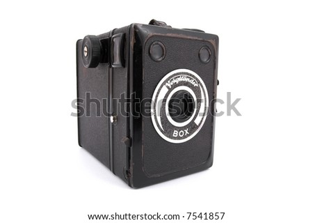 Old camera on the white background