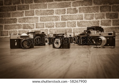 old cameras on a wood old photo