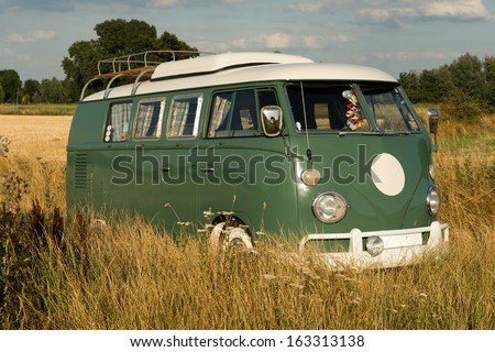 old camper - stock photo